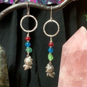 Sterling silver fish & natural gemstone earrings